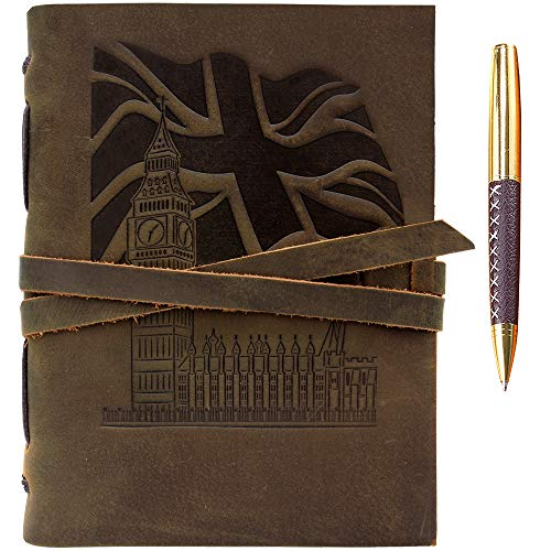"""Leather Journal Union Jack Flag Big Ben Notebook Embossed Handmade Travel Diary 