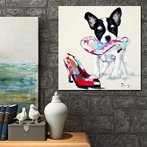 Olieverfschilderij op canvas handgeschilderd, abstracte mooie grappige dierschilderijen, wit zwart hond en bonte hoge hakken, grote maat moderne muurkunst wooncultuur voor binnen woonkamer slaapkamer kantoor 60×60 cm