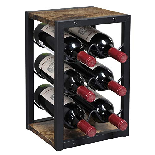OROPY Industrial Wine Rack Countertop 6 Bottles, Rustic Wood 3 Tier Free Standing Tabletop Wine Storage Holder Stand (Retro Color)