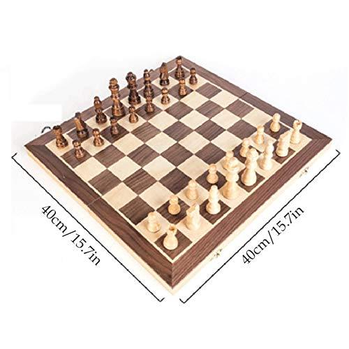 Boomboo Juego de ajedrez de Madera, Piezas de ajedrez artesanales Plegables para niños y Adolescentes (30 cm y 40 cm)