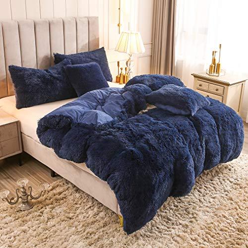 Uhamho Solid Fluffy 1PC Faux Fur Plush Duvet Cover Luxury Shaggy Velvet Bedspread Zipper Closure (Navy, King)