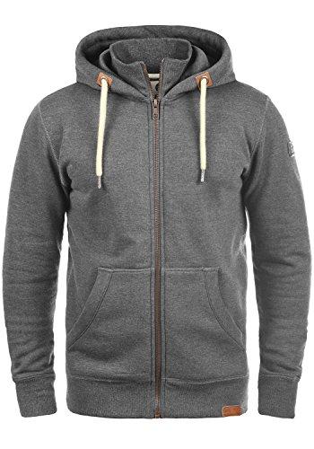 !Solid TripZip Herren Sweatjacke Kapuzenjacke Hoodie mit Kapuze Reißverschluss und Fleece-Innenseite, Größe:XXL, Farbe:Grey Melange...