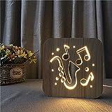 Diseño Hueco de saxofón Musical Luz de Noche de Madera Luz Blanca cálida como un Regalo Creativo o decoración de Hotel