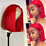 Red Bob Wig Human Hair 150% Density Virgin Human Hair Short Cut 8inches Bleach Knots Silky Straight Bob Wigs for Women Pre Plucked Natural Hairline 13x1x4 Swiss Lace Red Human Hair T Part Wigs