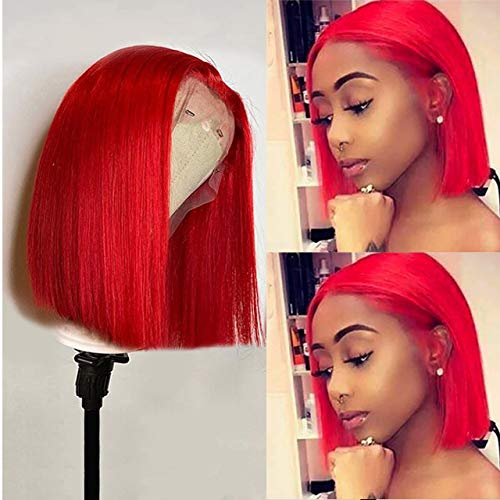 Red Bob Wigs Brazilian Human Hair 10 Inch Silky Straight 13x1 Lace Front Wig Red Remy Hair Bob Wigs Middle Part 150% Density Pre Plucked with Baby Hair Brazilian Virgin Hair Red Bob Wigs