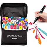 Copic Markers 48 Colors,Alcohol Markers Brush Tip Markers for Kids Adult Drawing Outlining and Anime Coloring Book with Canvas Bag,Prismacolor Markers (Black)