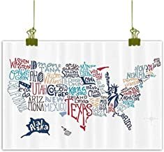 SEMZUXCVO Modern Frameless Painting USA Map Culture Tourist Names of American Town in Colorful Artful Typography City Design Canvas Wall Art W35 x L31 Multicolor