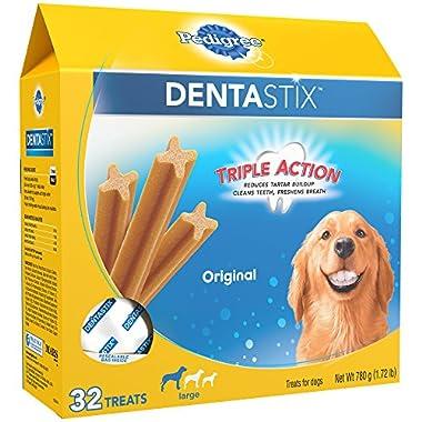 Pedigree DENTASTIX Large Dental Dog Treats Original, 1.72 lb. Pack (32 Treats)