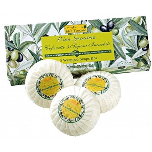 Prima Spremitura Organic Soap Olive Oil Bar (3x3.5 oz Bars Wrapped Gift Boxed) by Prima Spremitura