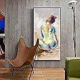 YuanMinglu Aquarell schöne Mädchen Wandkunst auf Leinwand abstrakte Mädchen Moderne dekorative Malerei Wohnzimmer Bar Cafe Dekoration rahmenlose Malerei40x80cm