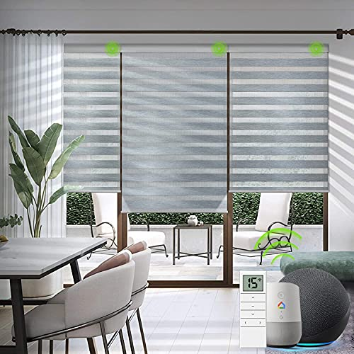 Yoolax Motorized Zebra Blinds Works with Alexa, Light Filtering Day and Night Dual Layer Sheer Shade Blinds Customized Size, Privacy Light Control Horizontal Window Blind for Home Office (Luxury Grey)