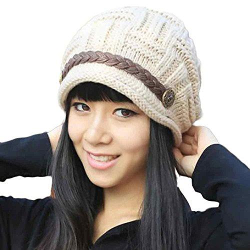 Tefamore Sombrero de las Mujeres Invierno de Caliente Gorro de Suave de Moda de elegante de Esquiar (Tamaño: 54-60cm /...