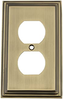 Nostalgic Warehouse 719740 Deco Switch Plate with Outlet, Antique Brass