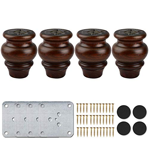 4 inch / 9cm Wooden Furniture Legs, La Vane 4PCS Glaze Soild Wood Spindle Replacement Bun Feet with Mounting Plate & Screws for Couch Table Sofa Bed Cabinet