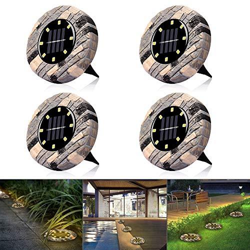 Solarleuchten, Solar Bodenleuchte 8 LEDs Gartenleuchte für Außen , IP65 Wasserdicht Warmweiß Solarlampe Deko für Rasen/Auffahrt/Gehweg/Patio/Garden