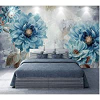 Iusasdz カスタム壁紙3D壁画北欧スタイルヨーロピアンスタイル手描き油絵青い花リビングルームの壁紙-200X140Cm