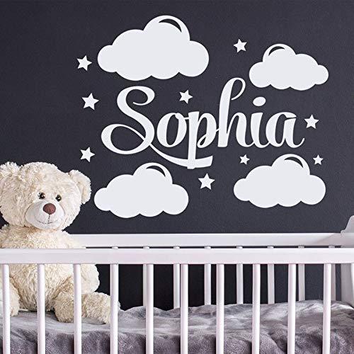 Decalcomanie da parete con nome personalizzato Decalcomanie con nome personalizzato da nuvole e stelle decorazione vivaio camera da letto per bambini camera da letto art deco murale 52x42cm