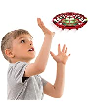 AMERTEER Hand Operated Drone for Kids Toddlers Adults - Hands Free Mini Drones for Kids Flying Gift Toys for Boys and Girls Hand Drone Kids Self Flying Drone(red)