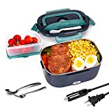 Andmenow Electric Lunch Box 3 in 1 for Car/Truck and Office, Portable Heater 110V & 12V 24V 40W Stainless Steel Food Heater 1.5L, Spoon and 2 Compartments Included (GreyGreen)