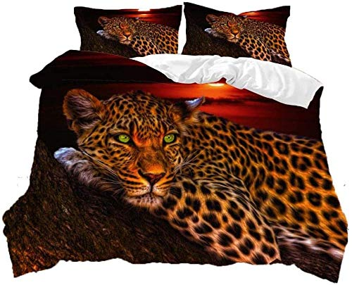 Fifase 3 Pieces Sunset Landscape Golden Wild Animal Leopard(220 X 230 Cm) Polyester Fiber Duvet Cover, Soft And Comfortable Print Bedding Set With Zipper Closure, 2 Pillowcases