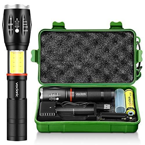 Tactische LED-zaklamp, Vockvic CREE T6 1000 lumen superheldere oplaadbare zaklamp met COB-lamp en magneet, 6 modi waterdichte zoombare handlamp, batterij + USB-oplader inbegrepen