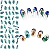 2sheets Nail Art Water Decal Slide Nail Sticker Peacock Feather Butterfly Feather Design Flower Leaf Tree Green Simple Summer DIY Slider For Manicuring Nail Art Watermark