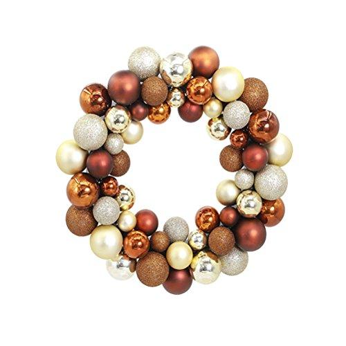OULII Guirnalda Corona Bolas Colgante de Navidad para Puerta Pared Decoración (Bronce)