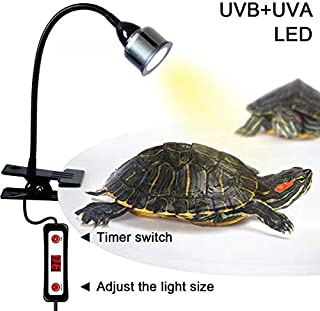 LHLYCLX UVB Reptile Heat Light, Timing LED UVA+UVB Heat Lamp with Flexible Clamp for Reptiles Amphibian Lizard Turtle Snake Tortoises Bearded Dragons Chameleon Lizard(Lamp Bulb Include)