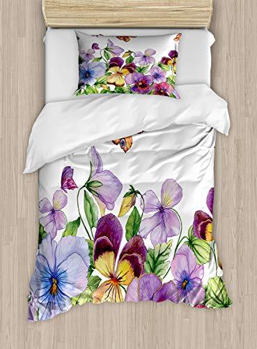 ABAKUHAUS bloemen Insecten Dekbedovertrekset, Bloemen Bijzonderheden, Decoratieve 2-delige Bedset met 1 siersloop, 130 cm x 200 cm, Fern Green Multicolor