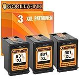 Gorilla de Ink®–Set de cartuchos de tinta XXL refabricado para HP 901XL Black & HP 901XL Color, color (5) 3x Patrone Black