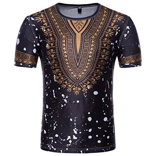 Longra T-Shirt Herren, 2018 Neu Herren Afrikanische Kleidung Sommer Traditionelle Beiläufige Dashiki T-Shirt Männer African Print Kurzarmshirt Bluse Top Modisch Freizeithemden (L, Black)