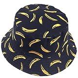VECRY Uomo Estate Reversibile Pescatore Cappelli - Donne Frutta Stampa Pieghevole Esterno Cappellino (Banana-Nero)
