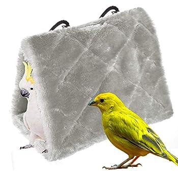 MATT SAGA Perroquet Nid d'Oiseau Animal Nid d'hiver Hiver Chaud Hamac Cabane Pendaison de Peluche Suspendu Cage pour Parrot Perruche Calopsitte Amazones Cacatoès Canari Cage Jouet (L, Gris)