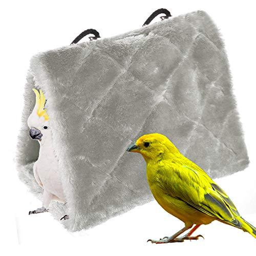 MATT SAGA Nido D'uccello Pappagallo d'inverno Caldo Amaca Appesa Grotta Gabbia Peluche Pappagallo Giocattolo Letto Capanna Tenda (M, Grigio)