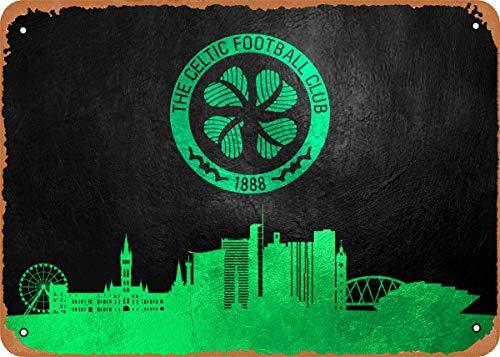 Dreyooy Soccer with Skyline Celtic FC Skyline Wall Art 12'x 8' Metal Tin Retro Vintage Sign