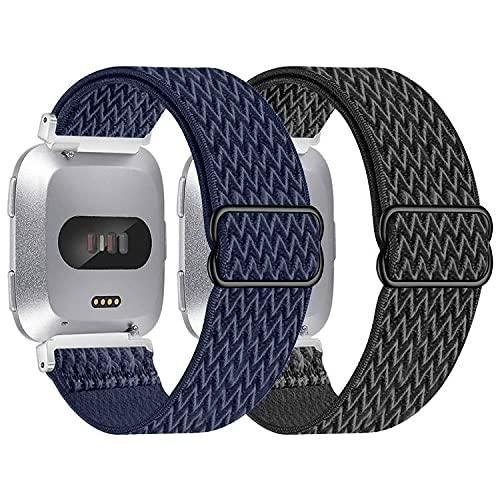 Vozehui Correa compatible con Fitbit Versa Lite/Fitbit Versa 2/versa, ajustable, elástica, transpirable, suave, correa de repuesto para Fitbit Versa 2/Versa Lite/Fitbit Versa, mujeres y hombres,