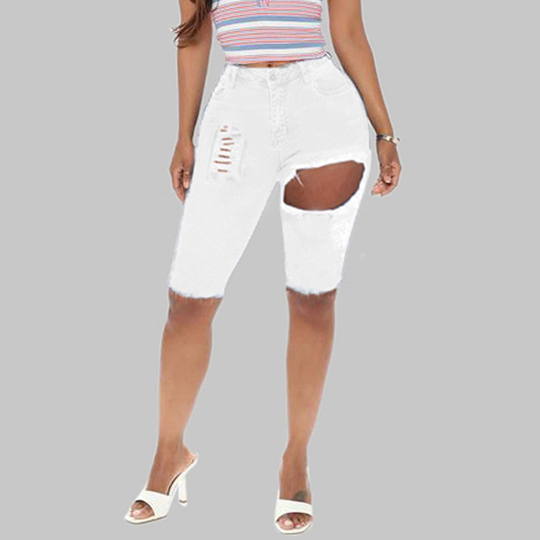 Women's High Waisted Pure Slim Cut Burr Short Front and Long Back Denim Shorts