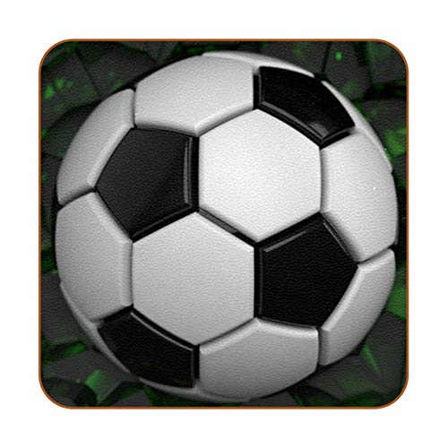 Bennigiry Balón de fútbol Crash Green Wall Posavasos de Cuero Taza de café Cuadrada Taza de Vidrio Manteles Individuales Tapetes para Tazas Manteles Individuales 6 PCS