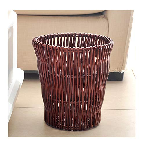 Indoor trash can Cylindrical Hand-woven Wicker Trash Can Without Lid,Waste Paper Basket,Storage Bin,Laundry Basket,Beautiful Home Decoration. dustbins (Color : Coffee)