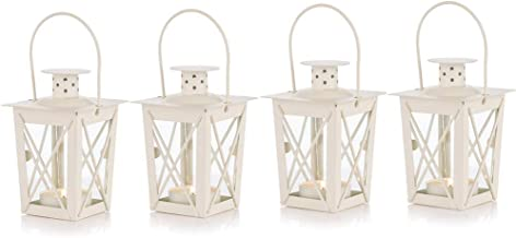 Vintage Black Metal Mini Decorative Candle Lanterns Tealight Candle Holder & Led Tea Light Candleholder Decoration for Birthday Parties Wedding Centerpiece Relaxing Spa Setting (White, 4 Pcs)