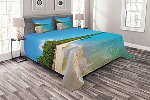 ABAKUHAUS Strand Tagesdecke Set, Karibik Palmen mit Boot, Set mit Kissenbezügen Romantischer Stil, 264 x 220 cm, Sky Blue Olivgrün