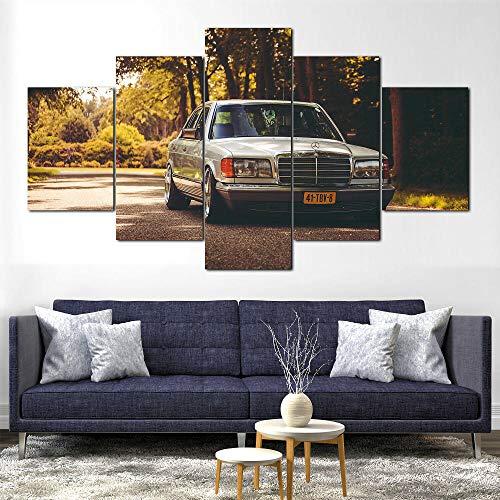 SGDJ 5-teiliger Kunstdruck auf Leinwand, frisches Aussehen, Wandbild, Mercedes Benz W126 HEANT CAR Öl-Landschaftsbilder für zuhause, Moderne Dekoration für Wohnzimmer