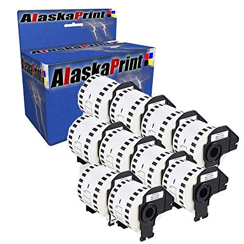 Alaskaprint 10 Rollen DK22205 DK-22205 62mm x 30.48m Endlosetiketten Komp. für Brother P-Touch QL-500 QL-550 QL-560 QL-570 QL-700 QL-710W QL-720NW QL-1050 QL-1060N 820NWB