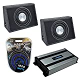 Harmony Audio HA-FT12 Car Stereo Flatline Loaded 12 Truck 800W Sub Box Bundle with HA-A800.1 Amplifier & Amp Kit