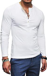 ヘンリーネック Tシャツ 長袖 メンズ カットソー クルーネック 無地 トップス インナー オールシーズン お洒落