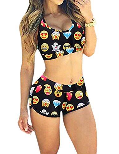 Popbop Ninimour Sportlicher Damen-Badeanzug mit Boyleg Gr. S, Emoji