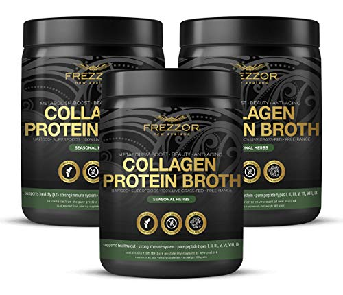 Collagen Protein Bone Broth, 100% Grass-Fed New Zealand Bovine Collagen Peptides Type I II III V VI VIII IX, Joint Pain, Anti-Aging, Weight-Loss, Improves Digestion, Seasonal Herbs Flavor, 3-Pack