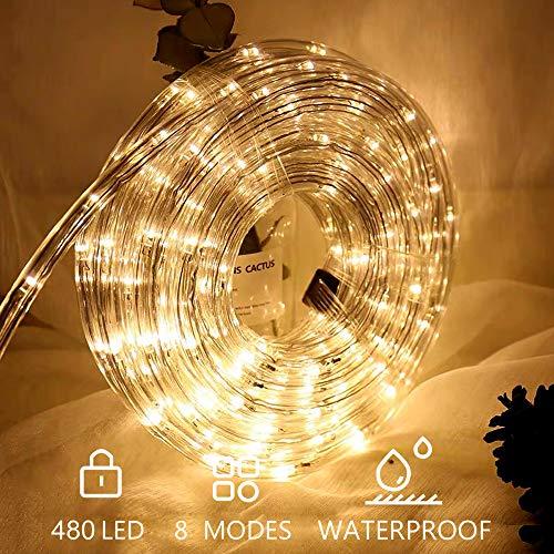 Hengda LED Lichterschlauch 20m Weihnachtsbeleuchtung 480er LED Warmweiß Lichtschläuche Lichter für Saal, Garten, Weihnachten, Hochzeit, Party