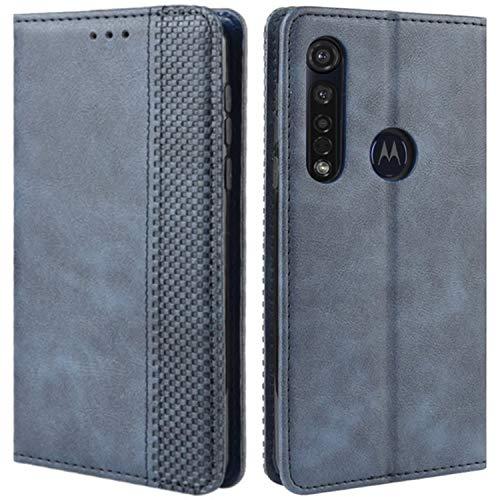 HualuBro Handyhülle für Motorola Moto G8 Plus Hülle, Retro Leder Stoßfest Klapphülle Schutzhülle Handytasche LederHülle Flip Hülle Cover für Motorola Moto G8 Plus Tasche, Blau