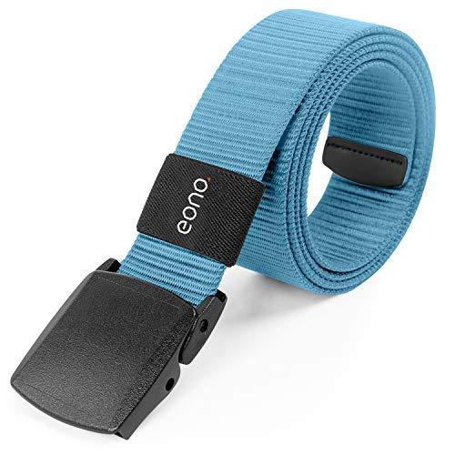 Eono Essential Lightweight Nylon Belt for men women Military Tactical Heavy Duty Belt Quick Release Metal Free Buckle Belt (Bleu)